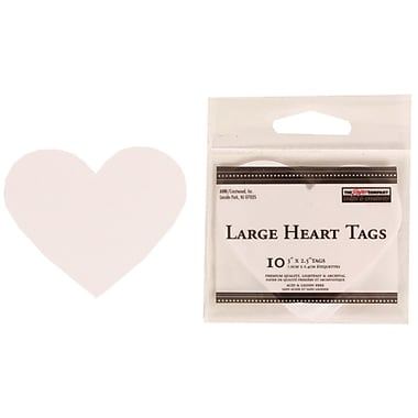 JAM Paper® Creative Gift Tags, Large, 3 x 2 1/2, White Heart, 10/pack (305124657)