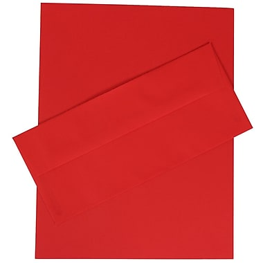 JAM Paper® 4.125in. x 9.5in. Brite Hue Recycled Stationery Set W/100 Paper & #10 Match Envelopes, Red