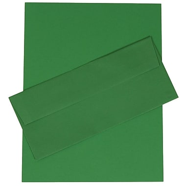 JAM Paper® 4.125in. x 9.5in. Brite Hue Recycled Stationery Set W/100 Paper & #10 Match Envelopes, Green