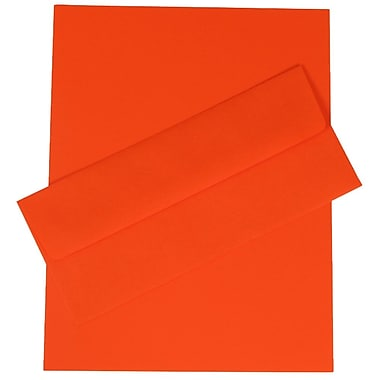 JAM Paper® Business Stationery Set, 100 Sheets of Paper and 100 #10 Envelopes, Brite Hue Orange Recycled, set of 100 (303024418)