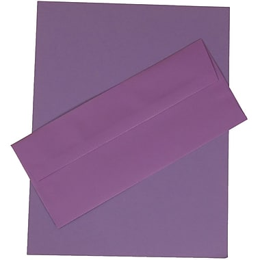 JAM Paper® Business Stationery Set, 100 Sheets of Paper and #10 Envelopes, Violet Purple Recycled, 100/set (303024423)