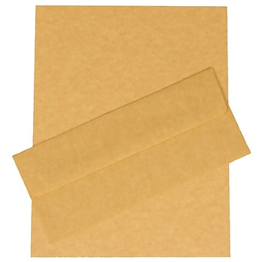 JAM Paper® Business Parchment Stationery Set, 100 Sheets of Paper and #10 Envelopes, Antique Gold Yellow, 100/set (303024425)