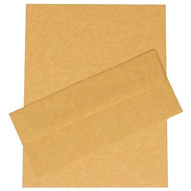 JAM PaperMD – Ensemble de papeterie d'affaires en papier-parchemin recyclé, or antique– 100 feuilles et 100 enveloppes N° 10