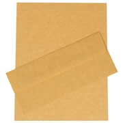 JAM Paper® Antique Gold Parchment Recycled Business Stationery Set - 100 Sheets of Paper with 100 matching #10 Envelopes