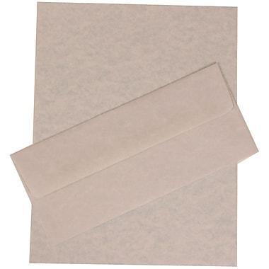 JAM PaperMD – Ensemble papeterie d'affaires parchemin recyclé bleu – 100 feuilles et 100 enveloppes nº 10 (4 1/8 x 9 1/2)