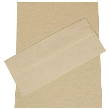 JAM PaperMD – Ensemble de papeterie d'affaires en papier-parchemin recyclé vert – 100 feuilles et 100 enveloppes nº 10