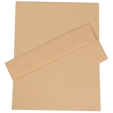 JAM Paper® Business Stationery Set, 100 Sheets of Paper and 100 #10 Envelopes, Husk Brown Recycled, set of 100 (303024432)