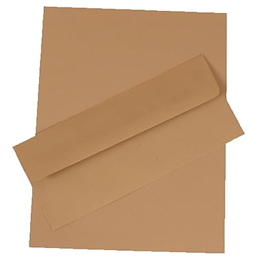 JAM Paper® Business Stationery Set, 100 Sheets of Paper and 100 #10 Envelopes, Fossil Brown Recycled, set of 100 (303024431)