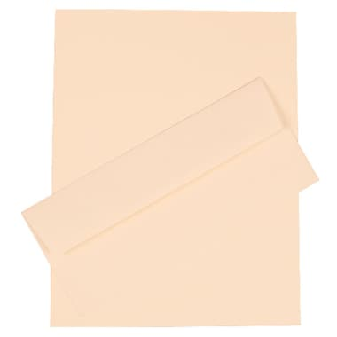 JAM Paper® 4.125in. x 9.5in. Strathmore Stationery Set W/100 Paper & #10 Matching Envelopes, Natural White