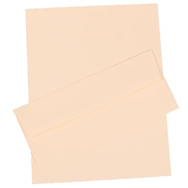 JAM Paper® 4.125in. x 9.5in. Pinestripe Stationery Set W/100 Paper & #10 Matching Envelopes, Natural White