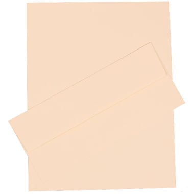 JAM Paper® 4.125in. x 9.5in. Linen Stationery Set W/100 Paper & #10 Matching Envelopes, Natural White
