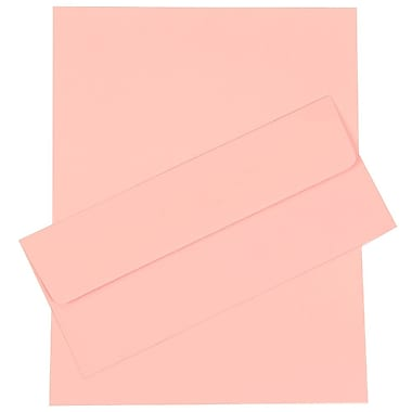 JAM Paper® Business Stationery Set, 50 Sheets of Paper and 5 #10 Envelopes, Baby Pink, set of 100 (303024446)
