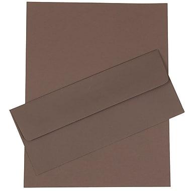 JAM Paper® Business Stationery Set, 50 Sheets of Paper and 50 #10 Envelopes, Dark Grey, set of 100 (303024448)