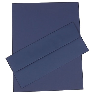 JAM Paper® 4.125in. x 9.5in. Business Stationery Set W/50 Paper & Matching #10 Envelopes, Presidential Blue