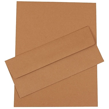 JAM Paper® 4.125in. x 9.5in. Recycled Business Stationery Set W/50 Paper & Matching #10 Envelopes, Brown Kraft