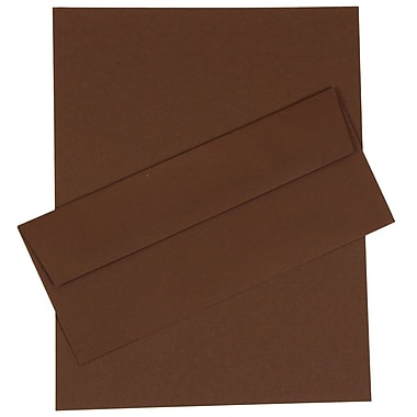 JAM Paper® Business Stationery Set, 50 Sheets of Paper and 50 #10 Envelopes, Chocolate Brown, set of 50 (303024457)