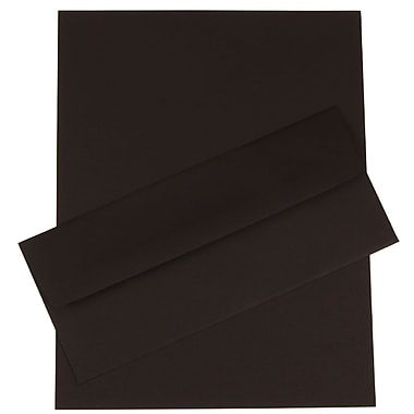 JAM Paper® Business Stationery Set, 50 Sheets of Paper and 5 #10 Envelopes, Black Linen Recycled, set of 100 (303024456)