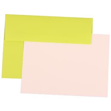 JAM Paper® A7 Brite Hue Stationery Set With 25 Cards & Envelopes, Ultra Lime