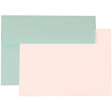 JAM Paper® A7 Stationery Set With 25 White Cards & Invitation Envelopes, Aqua