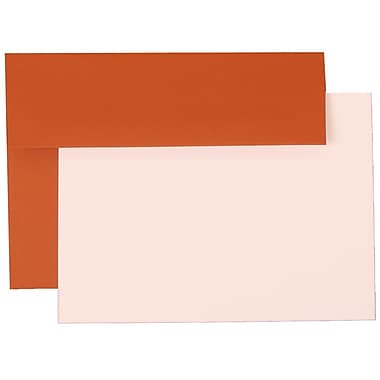JAM Paper® A7 Stationery Set With 25 White Cards & Invitation Envelopes, Dark Orange