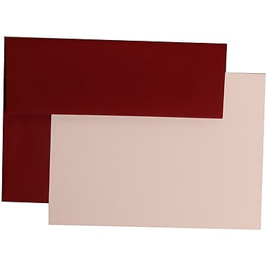JAM Paper® A7 Stationery Set With 25 White Cards & Invitation Envelopes, Dark Red