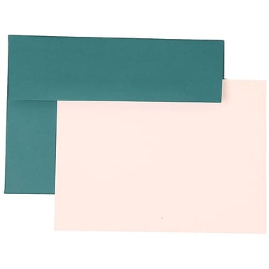 JAM Paper® A7 Stationery Set With 25 White Cards & Invitation Envelopes, Teal