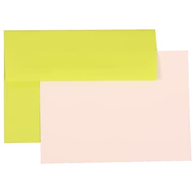 JAM Paper® Stationery Set, 25 White Cards and 25 A6 Envelopes, Brite Hue Ultra Lime Green, set of 25 (304624515)
