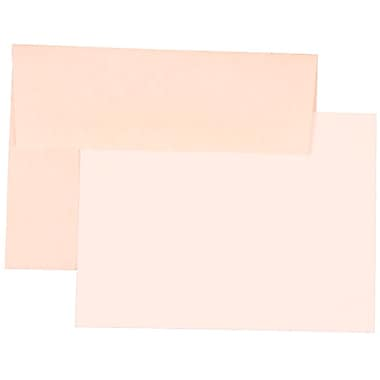 JAM Paper® A6 Parchment Recycled Stationery Set With 25 White Cards & Invitation Envelopes, Pink