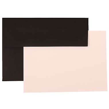 JAM Paper® A6 Linen Recycled Stationery Set With 25 Cards & Envelopes, Black