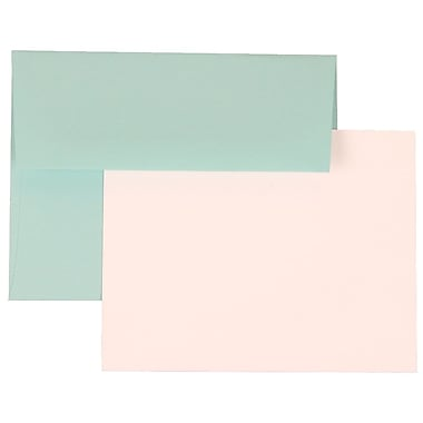 JAM Paper® A2 Base Stationery Set With 25 Cards & Envelopes, Aqua