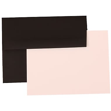 JAM Paper® A2 Linen Recycled Stationery Set With 25 Cards & Envelopes, Black