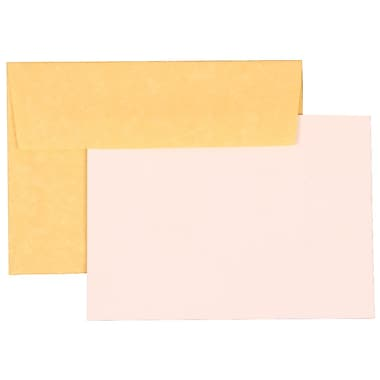 JAM Paper® 4Bar Parchment Recycled Stationery Set With 25 Cards & Envelopes, Antique Gold