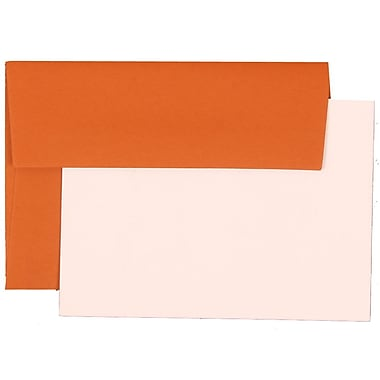 JAM Paper® 4Bar Base Stationery Set With 25 Cards & Envelopes, Dark Orange