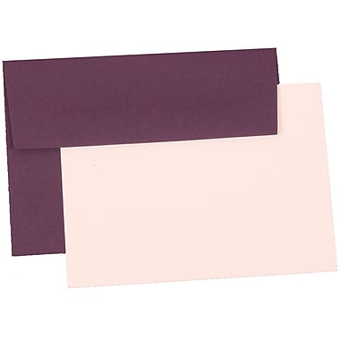 JAM Paper® 4Bar Base Stationery Set With 25 Cards & Envelopes, Dark Purple