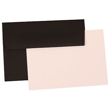 JAM Paper® 4Bar Linen Recycled Stationery Set With 25 Cards & Envelopes, Black