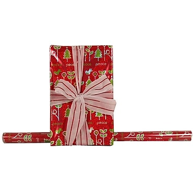 JAM Paper® Glitter Christmas Holiday Gift Wrapping Paper, 25 sq. ft., Peace Trees Red, 5/Pack (165524337g)