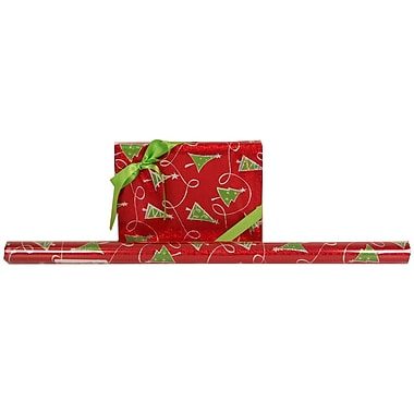 JAM Paper® Glitter Christmas Holiday Gift Wrapping Paper, 25 sq. ft., Red With Green Trees, 5/Pack (165524339g)