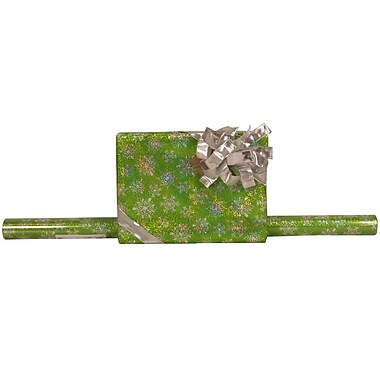 JAM Paper® Glitter Christmas Holiday Gift Wrapping Paper, 25 sq. ft., Green Silver Snowflake, 5/Pack (165524345g)