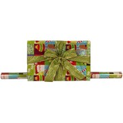 JAM Paper® 25 sq ft HoHoHo Green Glitter Wrapping Paper, Green