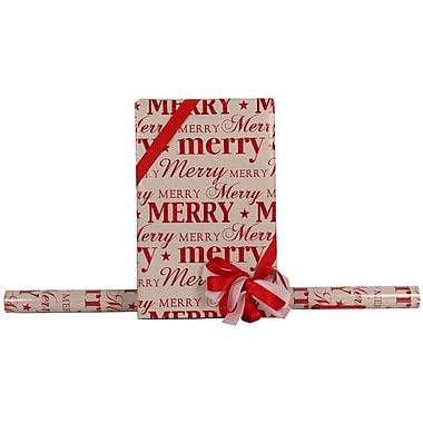 JAM Paper® Glitter Christmas Holiday Gift Wrapping Paper, 25 sq. ft., White Merry Christmas, 5/Pack (165524351g)