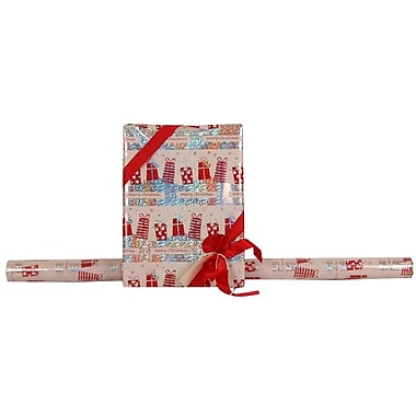 JAM Paper® Glitter Christmas Holiday Gift Wrapping Paper, 25 sq. ft., Merry Christmas Silver Red Gifts, 1/pack (165524353g)