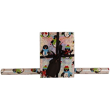JAM Paper® Glitter Christmas Holiday Gift Wrapping Paper, 25 sq. ft., Silver Penguins, Sold Individually (165524359)