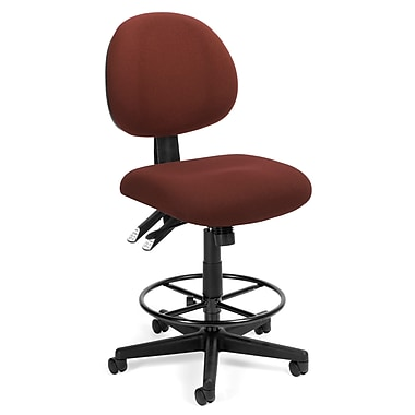 OFM™ Fabric 24-Hour Computer Task Stool, Burgundy
