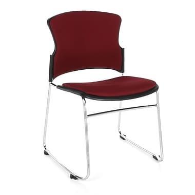 OFM™ Fabric Armless Multi-Use Stack Chair, Wine