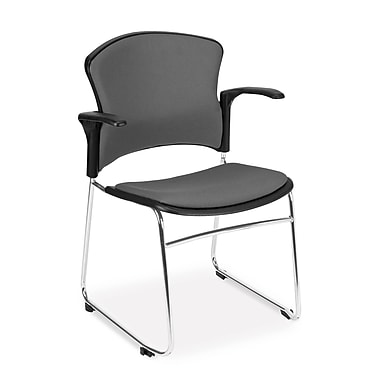 OFM™ Fabric Multi-Use Stack Chair With Arms, Gray