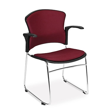 OFM™ Fabric Multi-Use Stack Chair With Arms, Wine