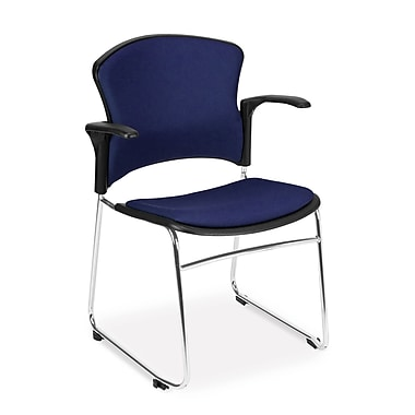 OFM™ Fabric Multi-Use Stack Chair With Arms, Navy