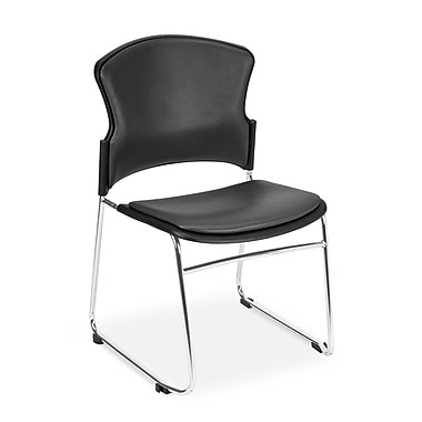 OFM™ Anti -Microbial/Anti-Bacterial Vinyl Multi-Use Stack Chair, Charcoal