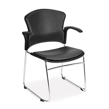 OFM™ Anti -Microbial/Anti-Bacterial Vinyl Multi-Use Stack Chair with Arms, Charcoal