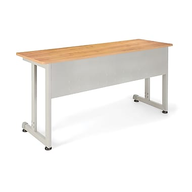 OFM™ 20in. x 55in. Steel Modular Training/Utility Table, Maple/Silver